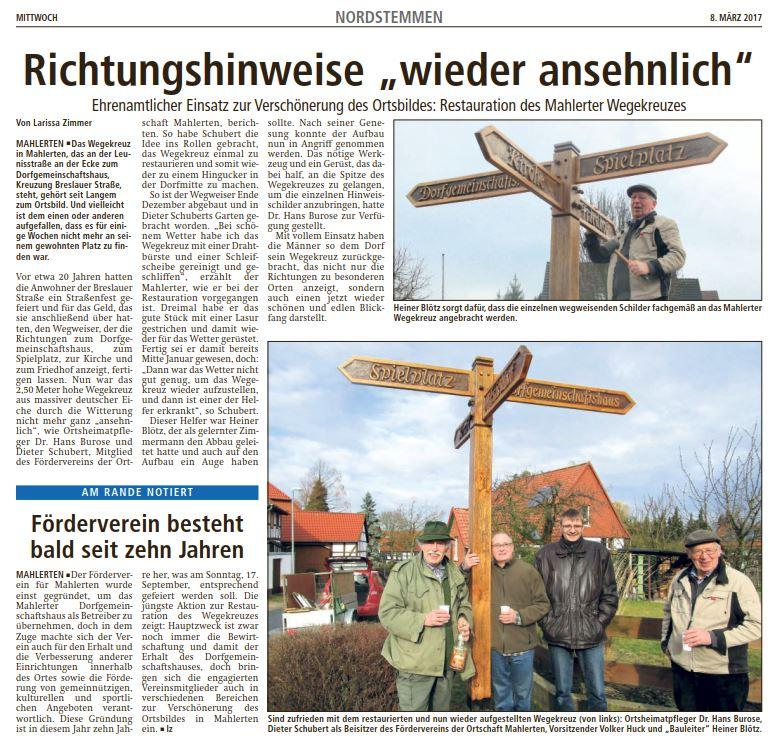 Mahlerten: Wegekreuz restauriert